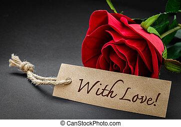 à, amour, et, rouges, rose.