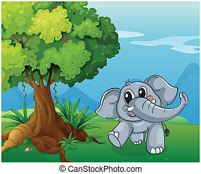 à côté de, arbre, éléphant