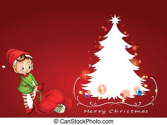 à côté de, arbre, elfe, noël