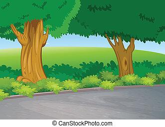 à côté de, arbre, route