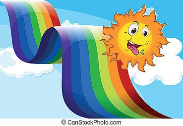 à côté de, arc-en-ciel, heureux, soleil