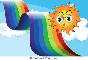 à côté de, arc-en-ciel, soleil