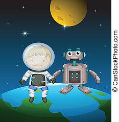 à côté de, astronaute, extérieur, robot, espace