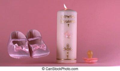 à côté de, chaussures, lit, bébé, tomber, bapti
