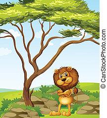 à côté de, fâché, arbre, lion