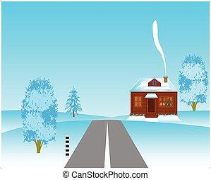 à côté de, maison, hiver, routes