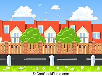 à côté de, maisons, vecteur, route, rang