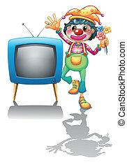à côté de, tã©lã©viseur, femme, clown