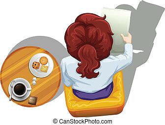 à côté de, table, lecture femme, topview