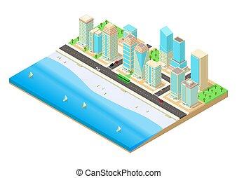 à côté de, vecteur, ville, illustration, bord mer, isométrique