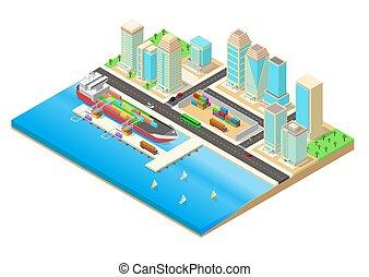 à côté de, vecteur, ville, illustration, bord mer, isométrique, port