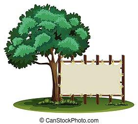 à côté de, vide, arbre, signe