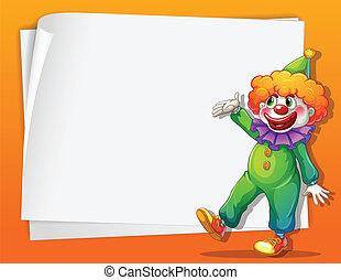 à côté de, vide, clown, espace