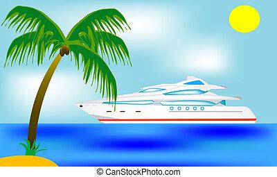 à côté de, voilier, blanching, exotique, côte