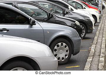 à côté de, voitures, garé, route, rang