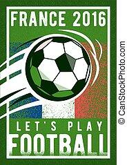 à, championnat, rugosité, football, 2016, signe, champ, drapeau, colors., fond, france, balle, texture.