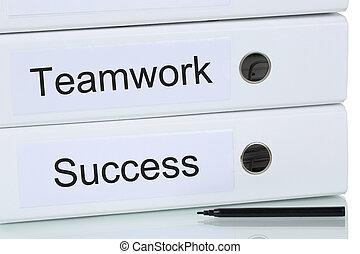 à, collaboration, et, équipe, à, reussite, concept affaires