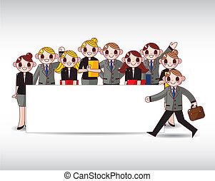 à, employé bureau, bannière, sime, blanc