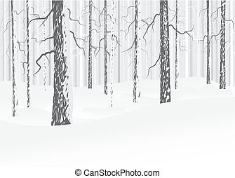 à feuilles caduques, hiver, forêt