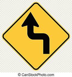 à frente, curvas, sinal, tráfego, fundo, transparente, estrada, esquerda