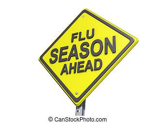 à frente, estação, gripe, sinal rendimento, fundo, branca