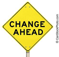 à frente, -, isolado, sinal amarelo, aviso, mudança