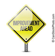 à frente, melhoria, estrada, ilustração, sinal