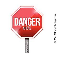 à frente, perigo, Ilustração, sinal, desenho, estrada