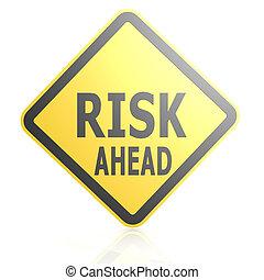 à frente, risco, sinal estrada