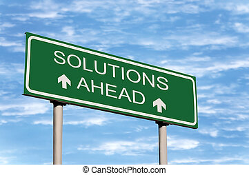à frente, soluções, sinal estrada