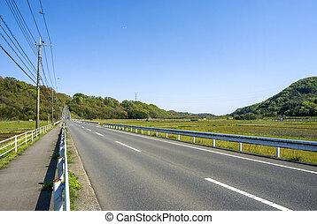 à frente, uphill, direito, estrada