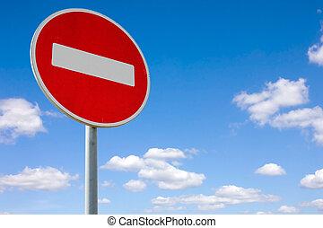 à margem estrada, parada, vermelho, sinal