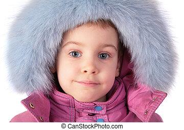 à poil, peu, chapeau, girl, portrait