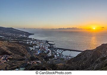 á-hang, ellen-, sunrise., kanári, cruz, palma, szent, sziget