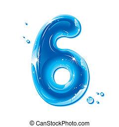 ábécé, folyékony, sorozat, -, szám, víz, 6