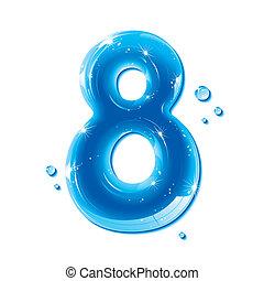 ábécé, folyékony, sorozat, -, szám, víz, 8