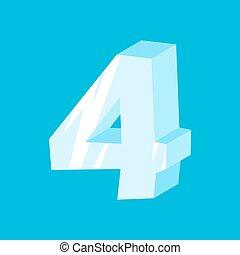 ábécé, jéghegy, fagyasztott, abc, jégcsap, ice., aláír, 4, four., szám, betűtípus, jelkép.