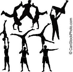 ábrázolás, akrobatisták, tornászok