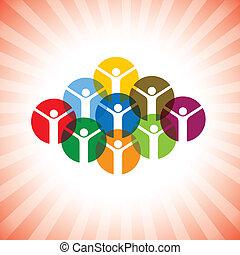 ábrázol, fogalom, boldog, emberek, graphic., közösség, vidám...