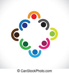 ábrázol, vagy, gyerekek, változatosság, &, graphic., emberek, összevisszaság, ábra, meeting-vector, egység, együtt, összejövetel, befog, igazgatók, dolgozók, játék, egyesített, gyerekek, konzerv