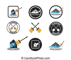 ábra, épület, jel, vektor, takarítás, ikon, szolgáltatás