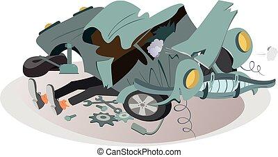 ábra, autó, rendbehozás, szerelő