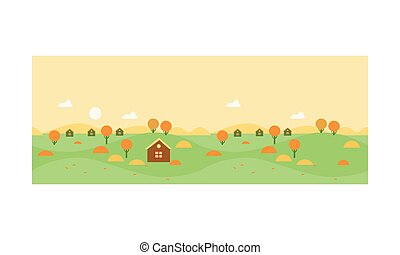 ábra, bitófák, ősz, épület, vektor, sárga, falu, vidéki parkosít
