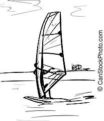 ábra, csónakázik, vitorlázás, vektor
