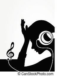 ábra, ear-phones., vektor, át, zene, leány, hallgatózik