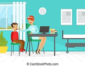 ábra, fiú, kölyök, orvos, megvizsgál, gyermekorvos, torok, vektor, szolgáltatás, nő, kivizsgálás, fogalom, orvosi