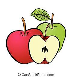 ábra, háttér, elszigetelt, -, vektor, alma, fehér