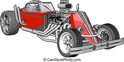 ábra, háttér., vektor, retro, autó, fehér, versenyzés, piros