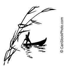 ábra, közül, a, személy, alatt, csónakázik