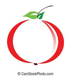 ábra, közül, alma, vektor
